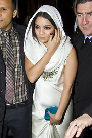 Vanessa Hudgens went for a unique nail look with some of her nails painted dark blue, and others glittery silver.