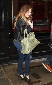 Hilary Duff was Parisian chic with a minty leather Balenciaga bag.