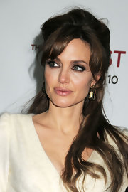 Angelina was casually elegant in a fuzzy angora gown and half up-half locks at the New York premiere of 'The Tourist.'