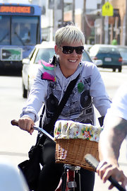 Pink kept the UV rays at bay with a cool pair of designer shades.