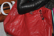 Lily Collins Quilted Leather Bag