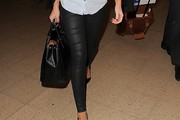 Mollie King Leather Pants
