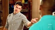 Max Greenfield looked cool and casual on 'New Girl' when he sported this gingham button down.