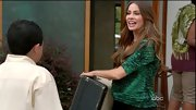 Sofia Vergara took a walk on the wild side wearing her own brand's green reptile print top on 'Modern Family.'