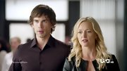 Kari Matchett toughened her typically classic office attire on 'Covert Affairs' with a collarless leather jacket.