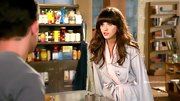 Never want to show a lot of skin on TV, Zooey Deschanel kept her sleep wear cozy and covered up with a light blue robe.