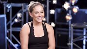 Shawn Johnson gave her work-out wear a girly touch with a scalloped sports bra.