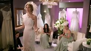 And another great thing about being on television is getting to dress up in one-shouldered wedding gowns adorned with crystals and silk chiffon flowers.