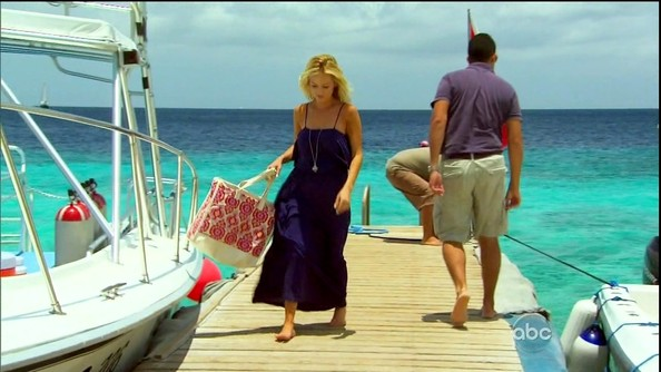 Nothing is more suited to a windy boat ride than a deck-sweeping maxi-dress like Emily Maynard's.