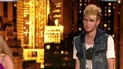 Colton Dixon kept his stage style funky, layering a denim vest over a navy hoodie and bold graphic T-shirt.