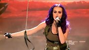 For her army-inspired look, Katy Perry rocked an olive tank with a seat belt style belt.