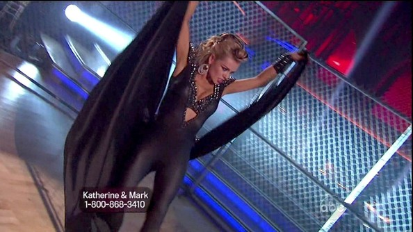 Katherine Jenkins channeled cat woman for this saucy getup on 'DWTS.'