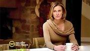 Brenda Strong subtly showcased her shape in a camel off-the-shoulder sweater.