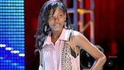 Diamond White was sweet as can be on 'The X Factor' in a pale pink button-down and sheer bedazzled vest.