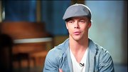 Derek Hough channeled a '90s boy bander in a baby blue newsboy cap.