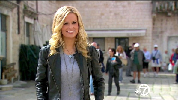 Emily Maynard may have been visiting Croatia, but she gave her leather jacket a Southwest vibe with a bolo style necklace.
