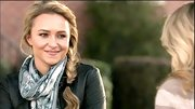 Hayden Panettiere looked totally on point in a leather jacket and eye catching scarf.