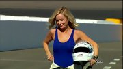 Emily Maynard as a race track vixen in a tight cobalt tank top.