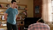 Max Greenfield kept it simple in this basic blue tee and black jeans.