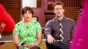 Jenna Ushkowitz opted for a pretty floral frock for her high school look on 'Glee.'