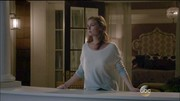 Come nightfall, Emily Thorne cozies up in a cream cashmere sweater boasting a subtle blue ombré.
