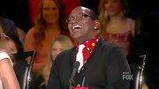 Now this was a bold shirt... Randy Jackson played up the shirt's bright colors with a contrasting white tie.