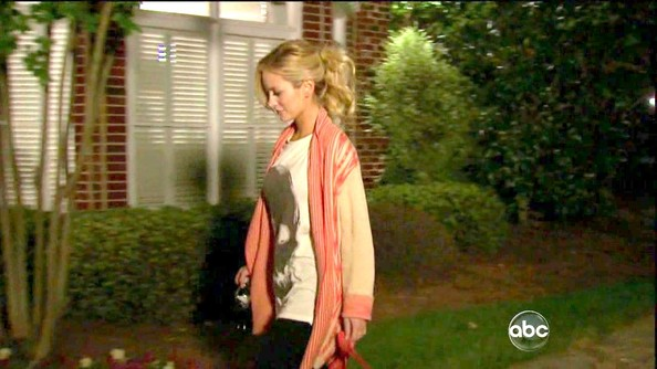 Emily Maynard kept cozy and chic on 'The Bachelorette' in an embroidered coral and tan cardigan.