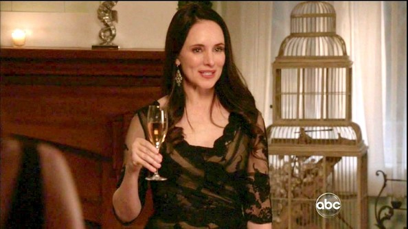 Madeleine Stowe looked classy as ever in this nude and black lace frock.