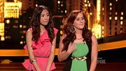 Jessica Sanchez emphasized her tiny waist in a pink peplum blouse with an asymmetric ruffle. Cute!