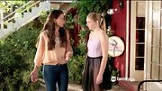 Sutton Foster rocked a boho style on 'Bunheads' in a peach peasant blouse.