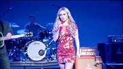 Hayden Panettiere sizzled on-stage in a darling red print dress with a sheer neckline.