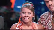 Bindi Irwin appeared on 'Dancing with the Stars' wearing a retro 'do. For her beauty look, she played down her kissers with neutral lipstick. Her natural lip color made a striking contrast to her heavily lined eyes.
