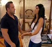 Teresa Giudice showed off her curves in a simple tight white tank top.