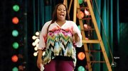 Amber Riley chose a bright and cheery look on 'Glee' when she wore this multi-colored dip-dyed blouse.