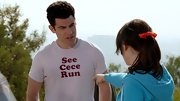 "Max Greenfield sported this clever ""See Cece Run"" tee at Cece's marathon."