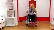 Hot pink kicks added impact to Ali Stroker's low-key look on 'The Glee Project.'