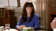 Zooey Deschanel kicked back on 'New Girl' in a relaxed cobalt sweater.