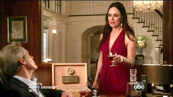 Madeleine Stowe was radiant in red on 'Revenge' in this glamorous halter gown.