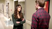 Jordana Brewster wore a no-nonsense tweed blazer during a dramatic scene on 'Dallas.'