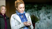 Hayden Panettiere chose a tie-dye scarf to accessorize her denim motorcycle jacket, which she sported on 'Nashville.'