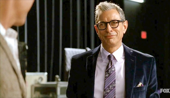 Jeff Goldblum's purple tie looked fab against his lilac collared shirt.