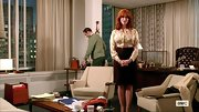 A print blouse gave Christina Hendricks a sleek and professional look on 'Mad Men.'