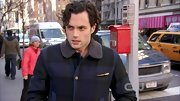 Penn Badgley's plaid jacket infused a woodsy element into his NY wardrobe.