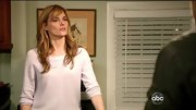 Susan Misner chose a pale blush sweater for her casual look on 'Nashville.'