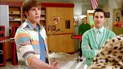 Blake Jenner opted for this pastel striped button down for his casual hallway look on 'Glee.'
