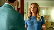 Emily VanCamp accessorized a simple blue top with a long silver necklace.