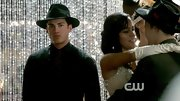 Michael Trevino's brooding expression matched his dark '20s get up, which included a black fedora.
