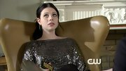Michelle Trachtenberg looked rather dismayed on 'Gossip Girl,' even though she was wearing an adorable beaded drop-waist dress.